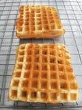 Sweet waffles at market. Stock Photos