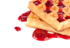 Sweet waffles with strawberry jam Royalty Free Stock Photography