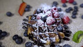 Waffles for breakfast / waffles with ice-cream and sweets stock video footage