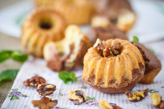 Sweet walnut muffins Stock Images