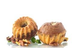 Sweet walnut muffins Stock Photos