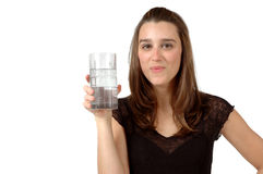 Sweet Water. Woman enjoys her glass of ice water Royalty Free Stock Images