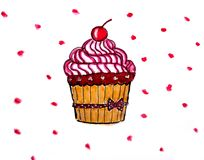Sweet watercolor cupcake, hand-painted Royalty Free Stock Photo