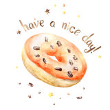 Sweet watercolor orange donut Stock Photo