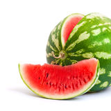 Sweet Watermelon. Watermelon and slice of watermelon isolated on white background royalty free stock images