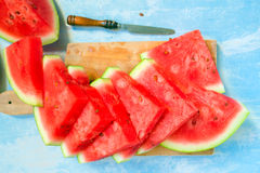 Sweet watermelon fruit slices, top view Royalty Free Stock Images