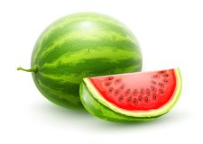 Watermelon. Whole fresh ripe sweet fruit. Sweet watermelon. Whole fresh ripe sweet fruit with sliced juicy piece of cut. Watermelon realistic fruits, isolated on Royalty Free Illustration