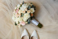 Sweet wedding Bouquet of the Bride Stock Images