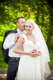 Sweet wedding, the bride and groom in an embrace Stock Photos