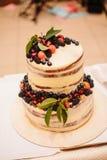 Sweet wedding cake made from fresh berry cupcake stock image