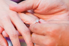 Sweet wedding. A groom is wearing a diamond ring to his bride Royalty Free Stock Photography
