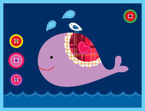 Sweet whale card Royalty Free Stock Photo