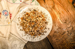 Sweet wheat kutia with nuts, poppy seeds, dried fruits Royalty Free Stock Images