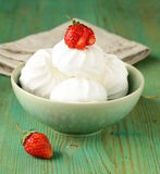 Sweet white marshmallow meringue with strawberries Royalty Free Stock Photo
