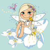 Sweet white pear blossom fairy Stock Photo