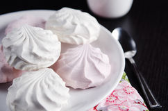 Sweet white and pink marshmallows on plate Royalty Free Stock Images