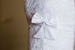 Sweet white wedding bridal dress details Royalty Free Stock Photography