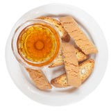 Sweet white wine and italian almond cantuccini top view Stock Images