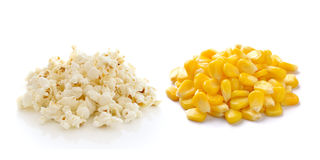 Sweet whole kernel corn and pop corn. On white background stock images