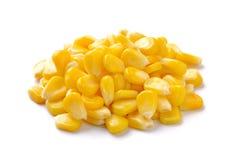 Sweet whole kernel corn. On white background Stock Images