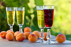Sweet wine and fruits Stock Photography