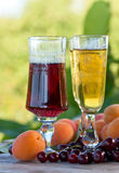 Sweet wine and fruits Stock Image