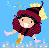 Sweet witch on a broom Royalty Free Stock Image