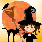 Sweet Witch peaceful Halloween Stock Image