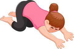 Sweet woman cartoon excercing yoga sport laying hands on the floor Royalty Free Stock Photography