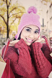 Sweet woman dressed for winter Stock Images