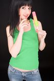 Sweet woman with icecream Royalty Free Stock Image