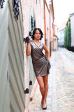 Sweet woman model in Old Riga Royalty Free Stock Photo