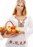 Sweet woman with ripe apples Stock Photography