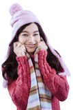 Sweet woman wearing knitted clothes Royalty Free Stock Images