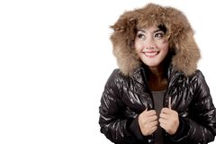 Sweet woman wearing winter jacket Stock Photos