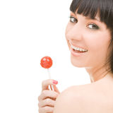 Sweet Woman With Candy Royalty Free Stock Image