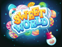 Sweet world GUI game window candy shooter. Vector illustration Royalty Free Stock Photo