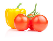 Sweet yellow bell pepper and Three tomato  Royalty Free Stock Photos