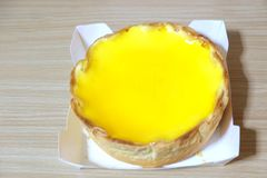 Cheese trat cake. Sweet yellow Cheese trat cake imported from Japan Royalty Free Stock Photography