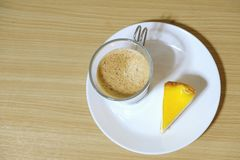 Cheese trat cake and coffee Stock Photography
