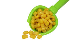 Sweet yellow corn in a green spoon on a white back. Sweet yellow corn Royalty Free Stock Photo