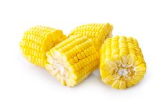 Sweet yellow fresh corn on white Stock Photo