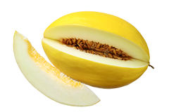 Sweet yellow melon with a slice Royalty Free Stock Image