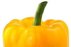 Sweet yellow pepper with green tail isolated on white background Royalty Free Stock Photography
