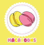 Sweet yellow and pink french macaroon cake. Biscuit dessert Stock Image