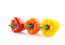 Sweet yellow and red peppers. Royalty Free Stock Images