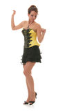 Sweet youg woman in yellow dress Stock Image