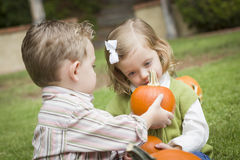 Sweet Young Brother and Sister At the Pumpkin Patch Stock Image