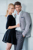Sweet Young Caucasian Couple Fashion Shoot Stock Image