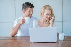 Sweet Young Couple Having Coffee Time Stock Photos